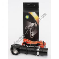 A813 Фонарик LED ручной + резинка крепление на голову (USB зарядка)
